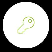Schlüssel Icon in Grün auf weißem Kreis